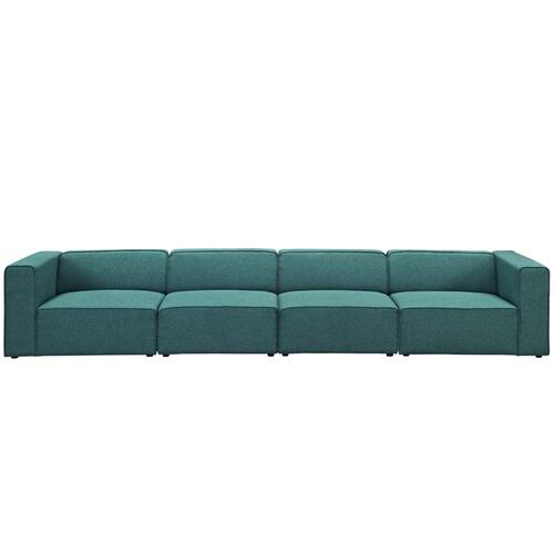 Mingle 4 Piece Upholstered Fabric Sectional Sofa Set in Teal