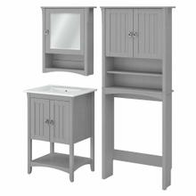 See Details - 24W Bathroom Vanity Sink with Mirror and Over Toilet Storage Cabinet, Cape Cod Gray