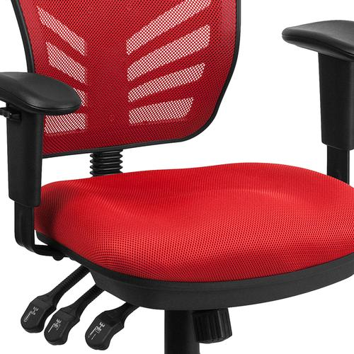 Flash Furniture - Mid-Back Red Mesh Multifunction Executive Swivel Ergonomic Office Chair with Adjustable Arms