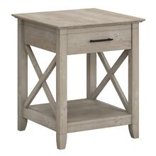 Key West End Table with Storage - Washed Gray