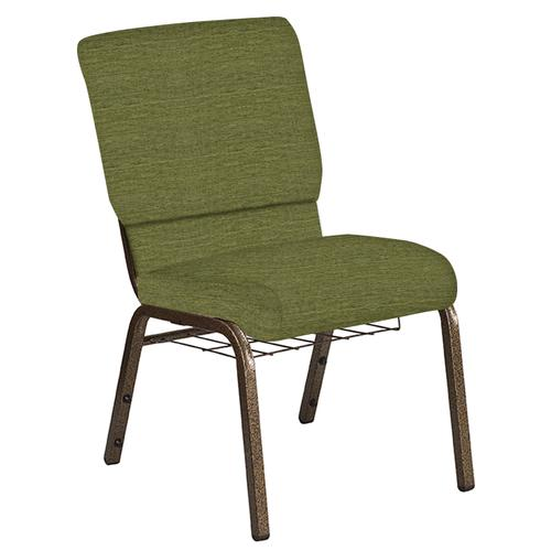 Flash Furniture - 18.5''W Church Chair in Highlands Verdigris Fabric with Book Rack - Gold Vein Frame
