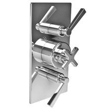 Fleetwood cross handle thermostatic with two lever flow controls trim only, to suit M1-4202 rough