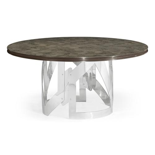 """60"""" Gatsby Contemporary Round Grey Natural Eucalyptus & Stainless Steel Dining Table with Random Cut Top"""