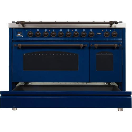 Nostalgie 48 Inch Dual Fuel Liquid Propane Freestanding Range in Blue with Bronze Trim