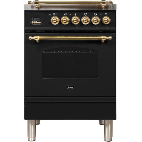 Nostalgie 24 Inch Dual Fuel Liquid Propane Freestanding Range in Glossy Black with Brass Trim