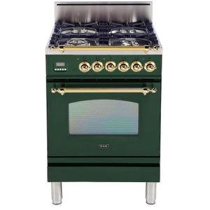 Nostalgie 24 Inch Gas Natural Gas Freestanding Range in Emerald Green with Brass Trim