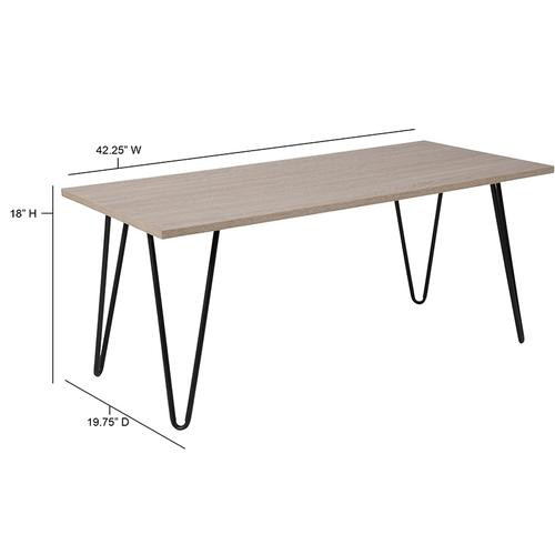 Flash Furniture - Oak Park Collection Driftwood Wood Grain Finish Coffee Table with Black Metal Legs