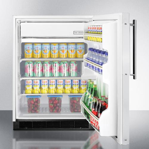 DISPLAY MODEL Built-in Undercounter Refrigerator-freezer In White With Manual Defrost and Stainless Steel Door Frame for Custom Panels