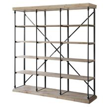 La Salle Metal and Wood 3 Section Bookshelf