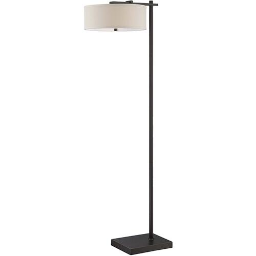 Floor Lamp, Dark Bronze/linen Shade, E27 Cfl 13wx2