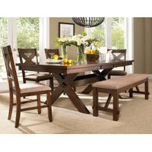 See Details - 6-Piece Karven Solid Wood Dining Set with Table 4 Chairs and Bench