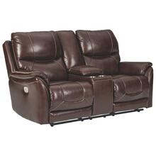 Leather Power Reclining Console Loveseat with Adjustable Headrest