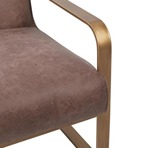 Nigel Fabric Accent Arm Chair Antique Gold Frame, Devore Brown