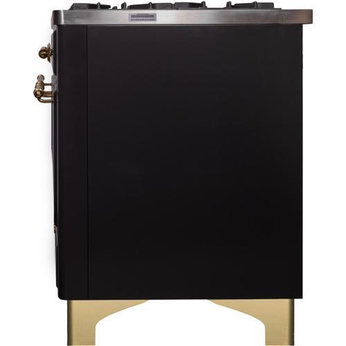Majestic II 40 Inch Dual Fuel Liquid Propane Freestanding Range in Matte Graphite with Brass Trim