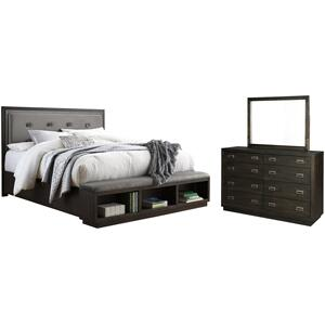 Ashley - Queen Upholstered Panel Bed With Storage With Mirrored Dresser