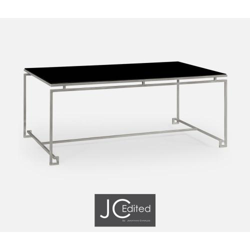 Silver-leaf gilded iron rectangular coffee table