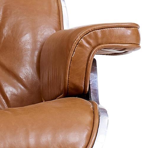 Grayson PU Lounge Arm Chair and Ottoman Aluminum Frame, Distressed Caramel