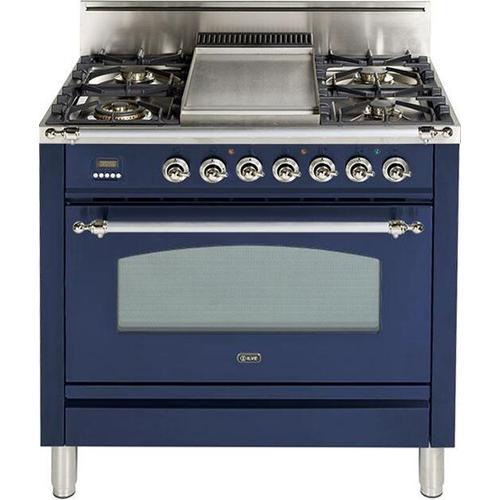 Nostalgie 36 Inch Gas Liquid Propane Freestanding Range in Blue with Chrome Trim