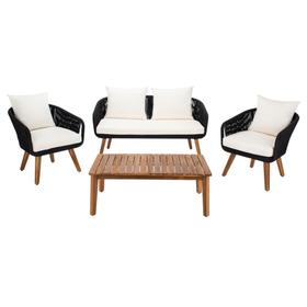 Prester 4pc Living Set - Black Rope / Beige Cushion / Natural Legs