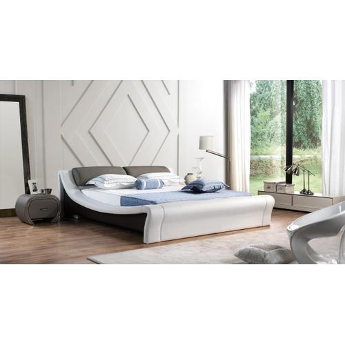 Modrest J241 Modern White & Grey Bonded Leather Bed