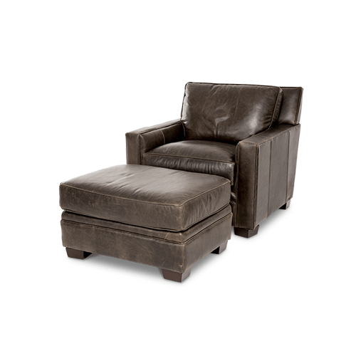 Oxford Leather Chair in Grey_Espresso Espresso