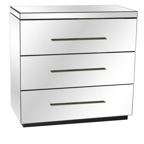 Crestview Collections - Melrose 3 Drawer Beveled Mirror Chest and Chrome Hardware