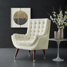 Suggest Button Tufted Performance Velvet Lounge Chair in Ivory
