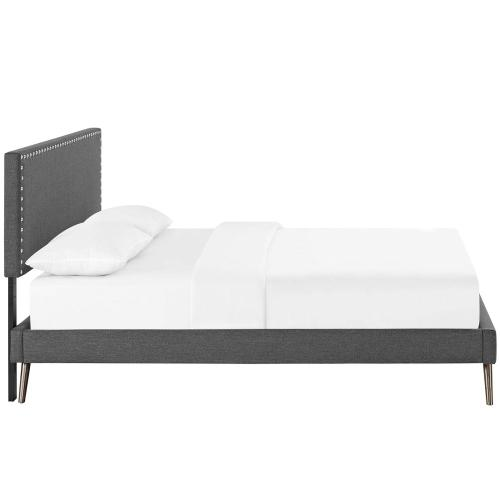 Macie Full Fabric Platform Bed with Round Splayed Legs in Gray