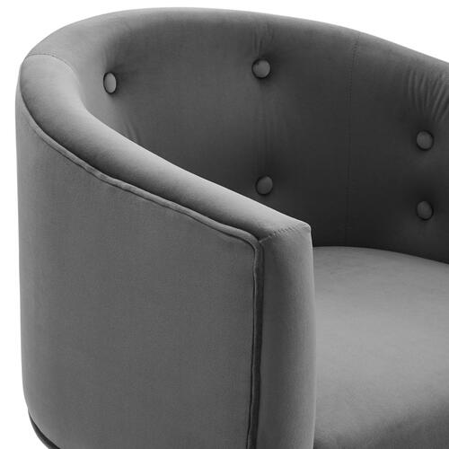 Savour Tufted Performance Velvet Accent Chairs - Set of 2 in Gray