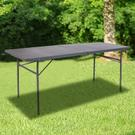 6-Foot Bi-Fold Dark Gray Plastic Folding Table with Carrying Handle Product Image