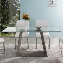 Bravo Contemporary Dining Table In Dark Sonoma Base With Clear Glass Top
