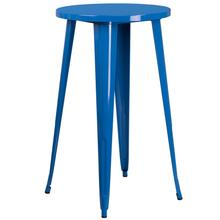 """See Details - Commercial Grade 24"""" Round Blue Metal Indoor-Outdoor Bar Height Table"""