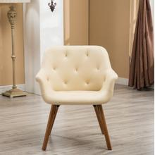 Vauclucy Contemporary Faux Leather Diamond Tufted Bucket Style Dining Chair, Ivory