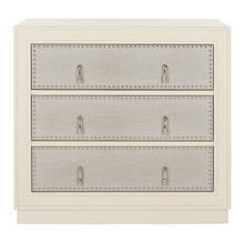 See Details - Lupita 3 Drawer Chest - Antique Beige / Light Grey Linen / Nickel