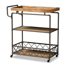 See Details - Baxton Studio Amado Rustic Industrial Farmhouse Oak Brown Finished Wood and Black Metal 3-Tier Mobile Kitchen Cart