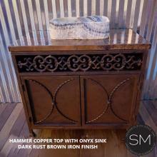 Hammer Copper Bathroom Vanity With Onyx Sink