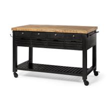 Columbia Black Wooden Kitchen Island