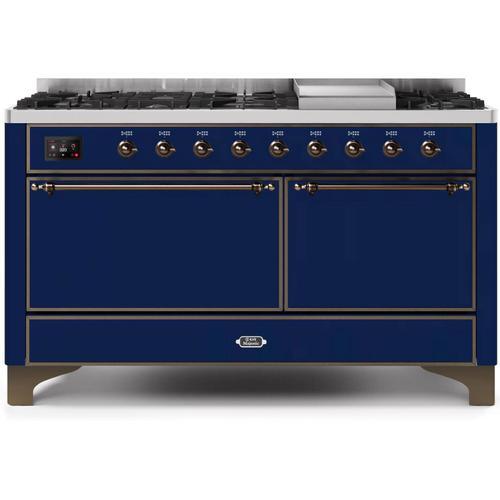 Majestic II 60 Inch Dual Fuel Liquid Propane Freestanding Range in Blue with Bronze Trim