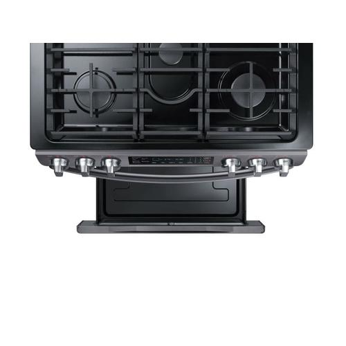 Samsung - 5.8 cu. ft. Slide-in Gas Range with Convection in Black Stainless Steel