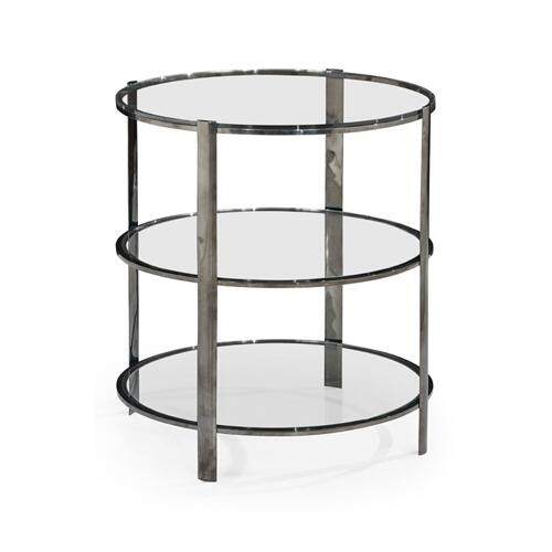 Circular Black Nickel Three-Tier End Table with Clear Glass