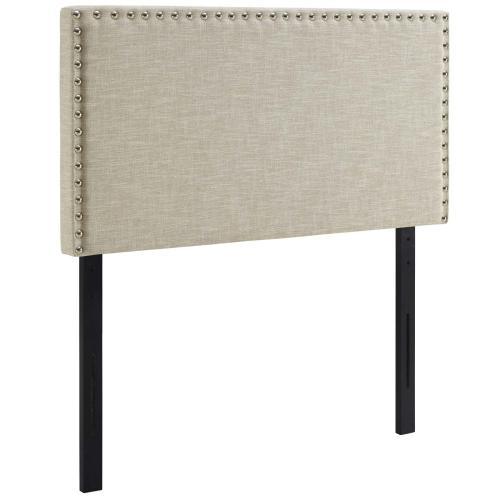Phoebe Twin Upholstered Fabric Headboard in Beige