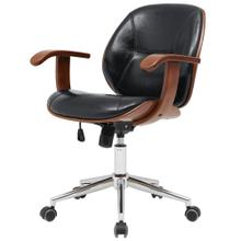 Samuel KD PU Bamboo Office Chair w/ Armrest, Black/Walnut