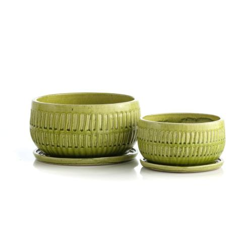 Grass Picket Bowls w/attached saucer, Set of 2