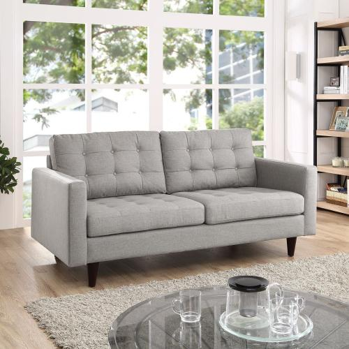 Modway - Empress Upholstered Fabric Loveseat in Light Gray