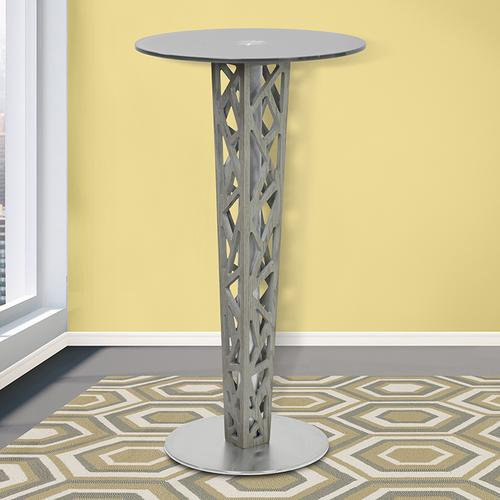 Armen Living Crystal Bar Table with Walnut veneer column and Brushed Stainless Steel finish with Clear Tempered Glass top