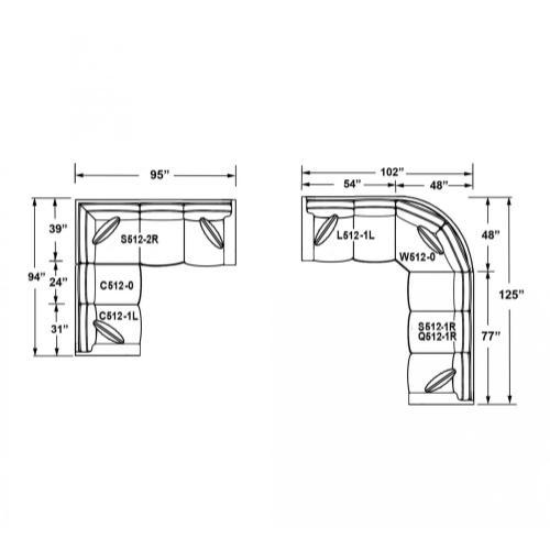 Capris Furniture - 512 SECTIONAL PIECES