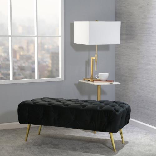 "Tufted 40"" Bench, Black, Kd"
