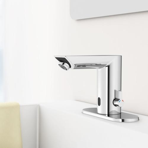 Baucosmopolitan E Touchless Electronic Faucet With Temperature Control Lever, Battery-powered