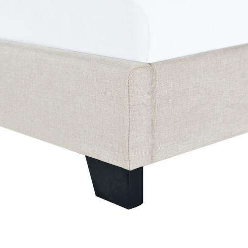 Clipped Corner Twin Upholstered Bed in Light Gray