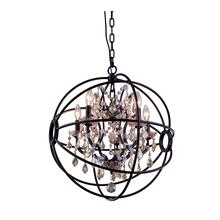Geneva 5 light Dark Bronze Pendant Golden Teak (Smoky) Royal Cut crystal